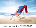 coastline and hat red towel and ... | Shutterstock . vector #269638085