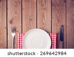Wooden Table With Empty Plate....