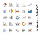 set of chart icons in thin... | Shutterstock .eps vector #269643851