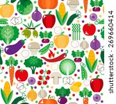 bright vegetable set in flat... | Shutterstock .eps vector #269660414