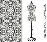 vector black and white fashion... | Shutterstock .eps vector #269696285