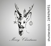 christmas vintage deer... | Shutterstock .eps vector #269696951