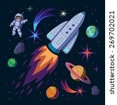 illustration of rocket. set of... | Shutterstock .eps vector #269702021