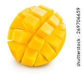 Mango Slice Isolated On White...
