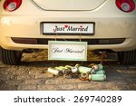"""wedding car with a plate """"just... 