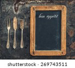 vintage silver cutlery and... | Shutterstock . vector #269743511