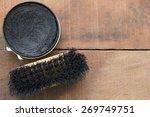 Shoe Polish And Brush  On Wood