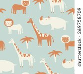seamless pattern with cute... | Shutterstock .eps vector #269758709