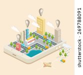 isometric town map with gps... | Shutterstock .eps vector #269788091