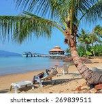 a woman on a deck chair... | Shutterstock . vector #269839511