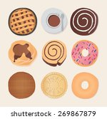 set of chocolate sweets  cakes... | Shutterstock .eps vector #269867879