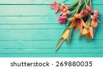 Stock photo fresh spring red tulips flowers on turquoise painted wooden planks selective focus place for 269880035