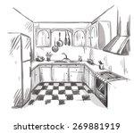 kitchen interior drawing ... | Shutterstock .eps vector #269881919