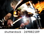 man playing the drum.live music ... | Shutterstock . vector #269882189