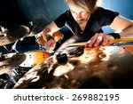 man playing the drum.live music ... | Shutterstock . vector #269882195