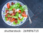 mushroom pizza topped with...   Shutterstock . vector #269896715