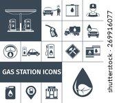gas station icons black set...   Shutterstock .eps vector #269916077