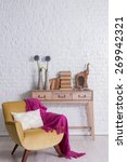 white brick wall and books | Shutterstock . vector #269942321