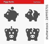 Piggy Banks Icons. Professiona...