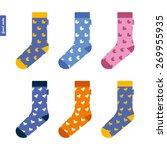 set of socks with ducks... | Shutterstock .eps vector #269955935