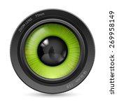 isolated on white camera lens...