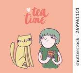 girl with cat drinking tea.... | Shutterstock .eps vector #269961101