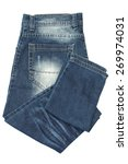 Folded Blue Jeans Isolated On...