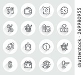 commerce flat contour icons on... | Shutterstock .eps vector #269980955