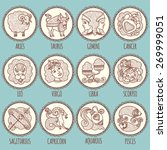 zodiac icons. freehand drawing. | Shutterstock .eps vector #269999051