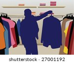 man suit silhouette in shop... | Shutterstock .eps vector #27001192