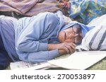 homeless woman sleeping in a... | Shutterstock . vector #270053897