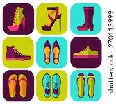 flat set of women's shoes | Shutterstock .eps vector #270113999