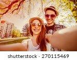 selfie with smartphone  happy...   Shutterstock . vector #270115469