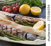 grilled mackerel with asparagus | Shutterstock . vector #270186554