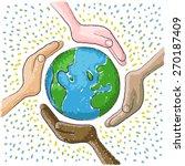 hand around the world | Shutterstock .eps vector #270187409
