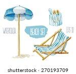 beach set. vector watercolor... | Shutterstock .eps vector #270193709