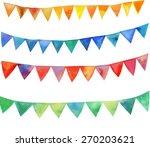 watercolor vector festive flags ... | Shutterstock .eps vector #270203621