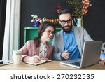 young hipster man with woman in ... | Shutterstock . vector #270232535