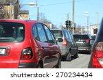 red car in traffic. urban... | Shutterstock . vector #270234434
