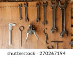 old vintage tools hanging on a... | Shutterstock . vector #270267194