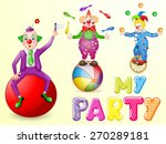 funny clowns at party | Shutterstock .eps vector #270289181