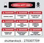 chemical safety signs  caustic... | Shutterstock .eps vector #270307709