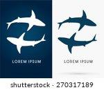 Silhouette  Swimming Shark ...