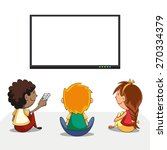 kids watching tv  blank screen  ... | Shutterstock .eps vector #270334379