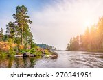 Pines On The Coast Of Lake At...
