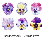 set of six botanical watercolor ... | Shutterstock . vector #270351995