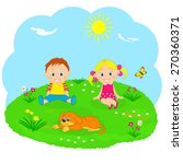 boy  girl and dog on a green... | Shutterstock .eps vector #270360371
