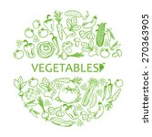 circle of icons vegetables on a ... | Shutterstock .eps vector #270363905