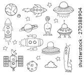 set of space ships  planets ... | Shutterstock .eps vector #270388904