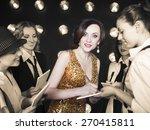 superstar woman wearing golden...   Shutterstock . vector #270415811